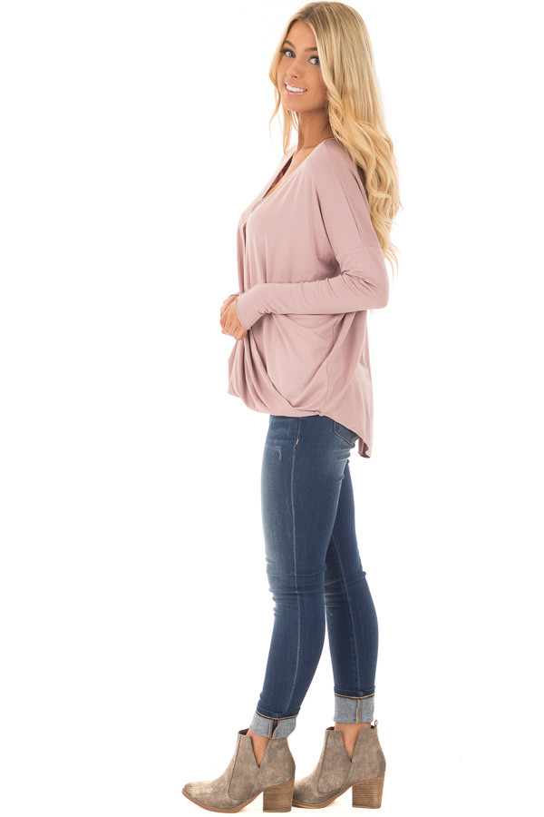 Dusty Pink Drop Shoulder Long Sleeve Surplice Top side full body