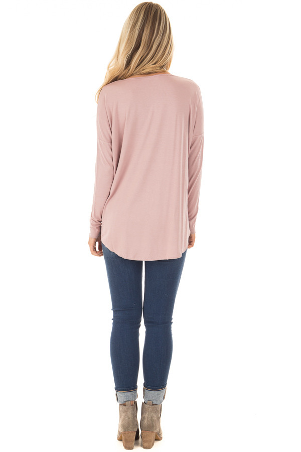 Dusty Pink Drop Shoulder Long Sleeve Surplice Top back full body