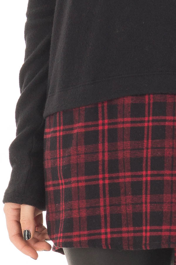 Black Long Sleeve Top with Red Plaid Detail detail