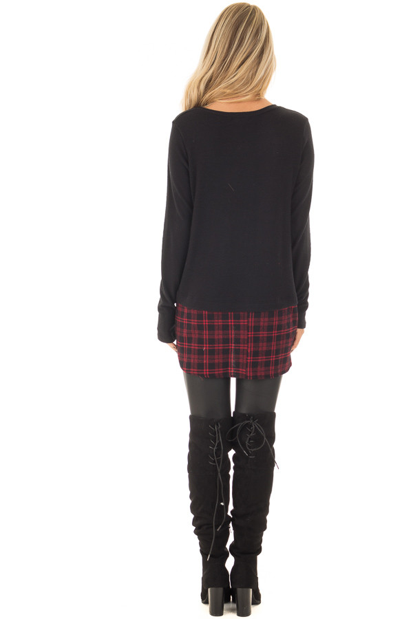 Black Long Sleeve Top with Red Plaid Detail back full body