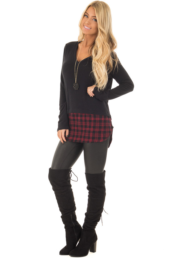 Black Long Sleeve Top with Red Plaid Detail front full body