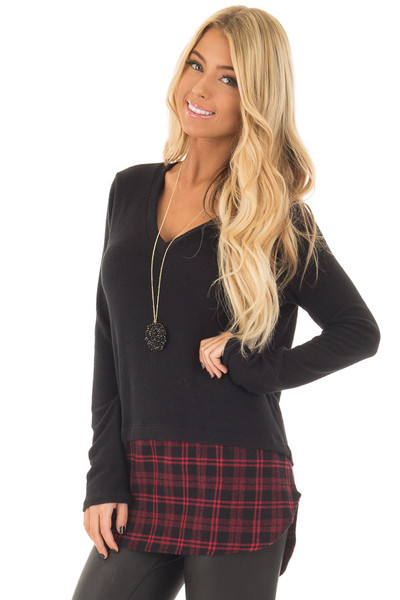 Black Long Sleeve Top with Red Plaid Detail front close up