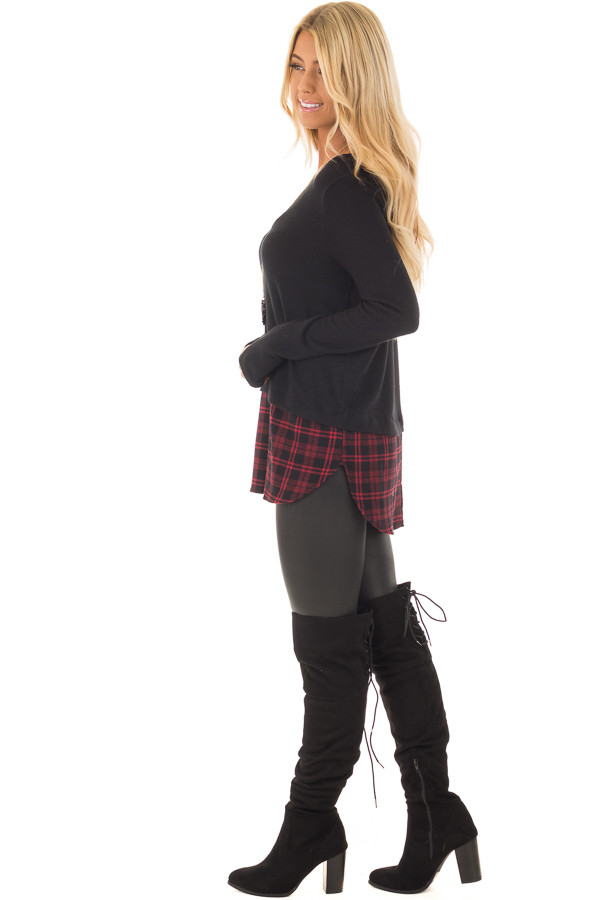 Black Long Sleeve Top with Red Plaid Detail side full body