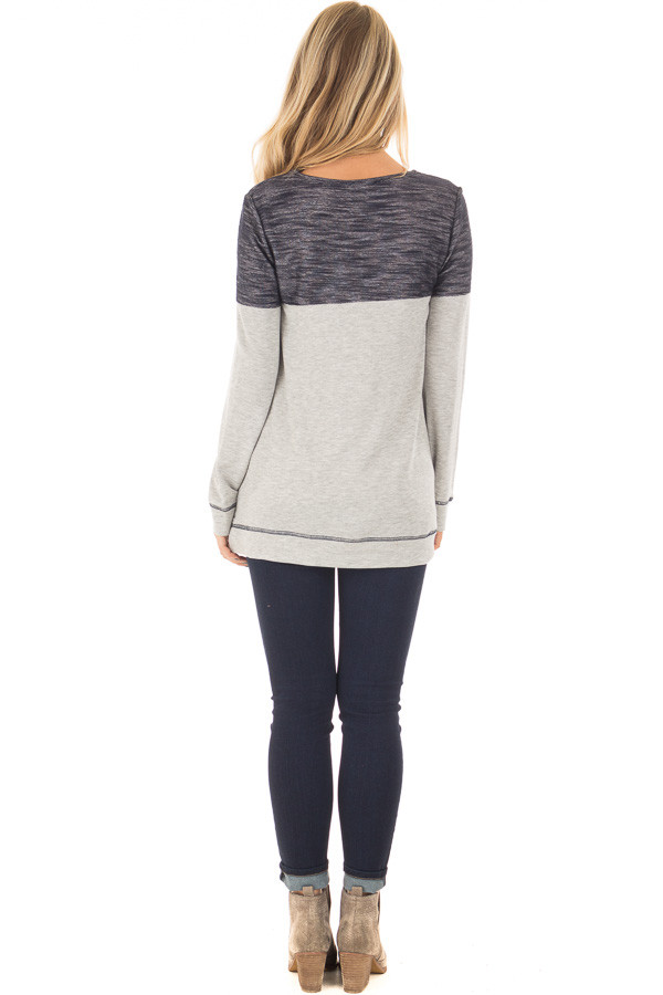 Heather Grey Top with Navy Contrast and Breast Pocket back full body