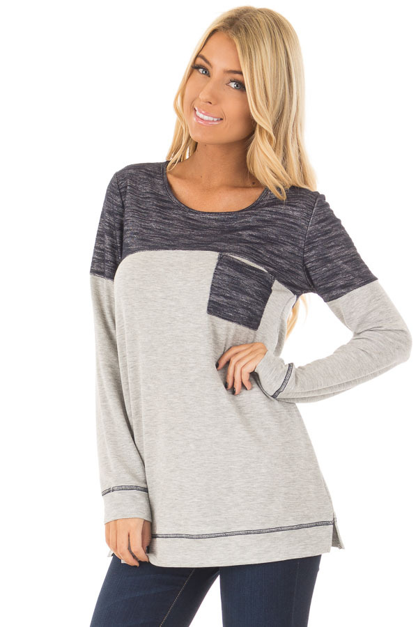 Heather Grey Top with Navy Contrast and Breast Pocket front close up
