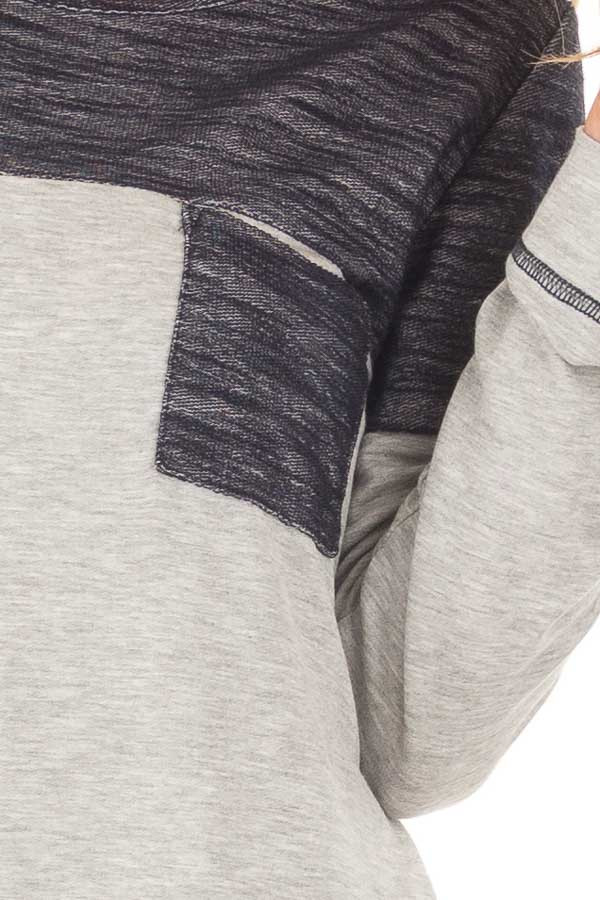 Heather Grey Top with Navy Contrast and Breast Pocket detail