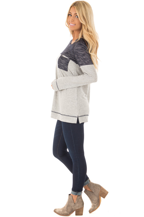 Heather Grey Top with Navy Contrast and Breast Pocket side full body