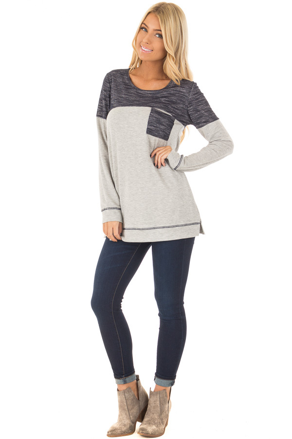 Heather Grey Top with Navy Contrast and Breast Pocket front full body