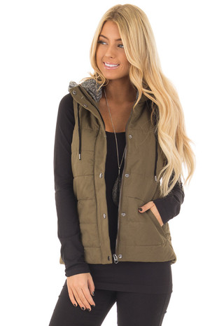 Olive Quilted Padded Sleeveless Hoody Vest front close up
