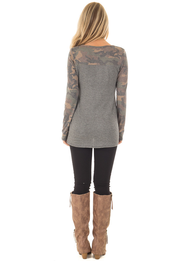 Charcoal Top with Camo Contrast and Sequin Breast Pocket back full body
