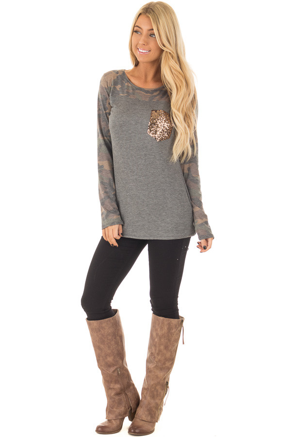 Charcoal Top with Camo Contrast and Sequin Breast Pocket front full body