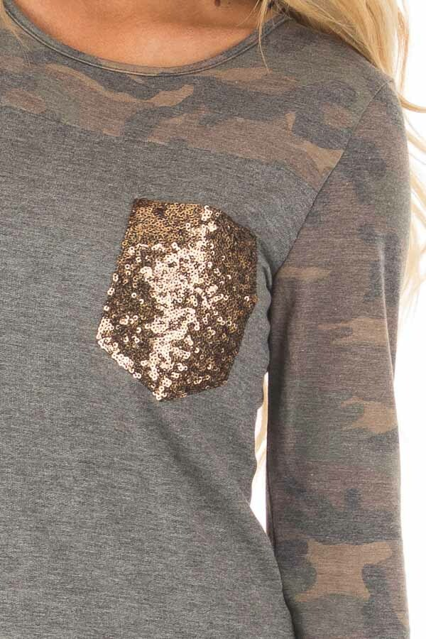 Charcoal Top with Camo Contrast and Sequin Breast Pocket detail