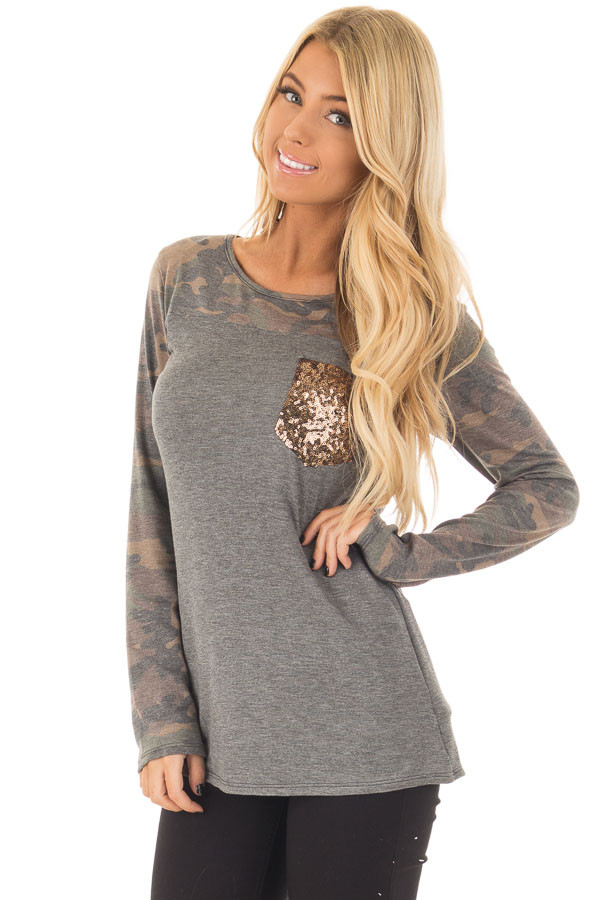 Charcoal Top with Camo Contrast and Sequin Breast Pocket front close up