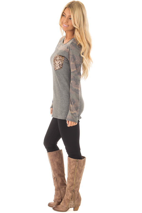 Charcoal Top with Camo Contrast and Sequin Breast Pocket side full body