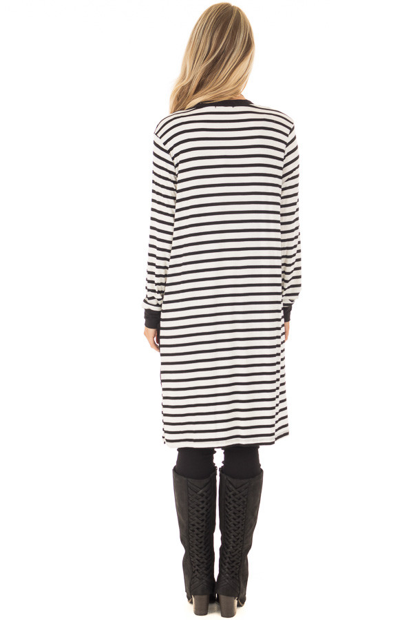 Black and White Striped Cardigan with Front Pockets back full body