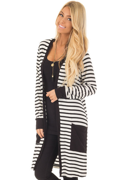 Black and White Striped Cardigan with Front Pockets front close up