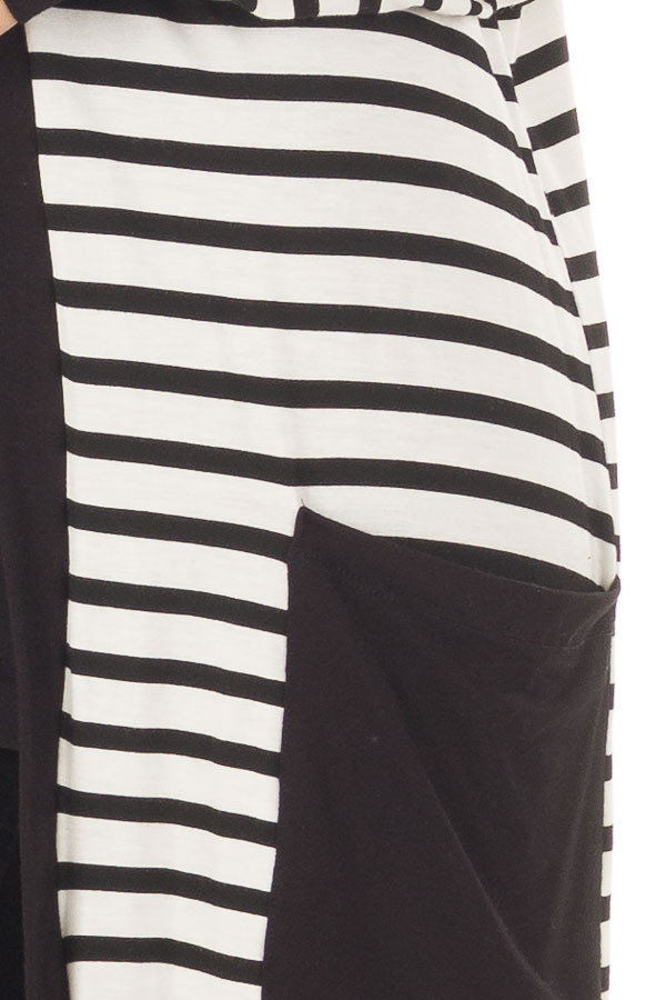 Black and White Striped Cardigan with Front Pockets - Lime Lush ...