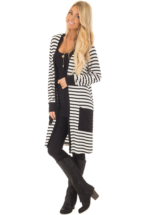 Black and White Striped Cardigan with Front Pockets front full body