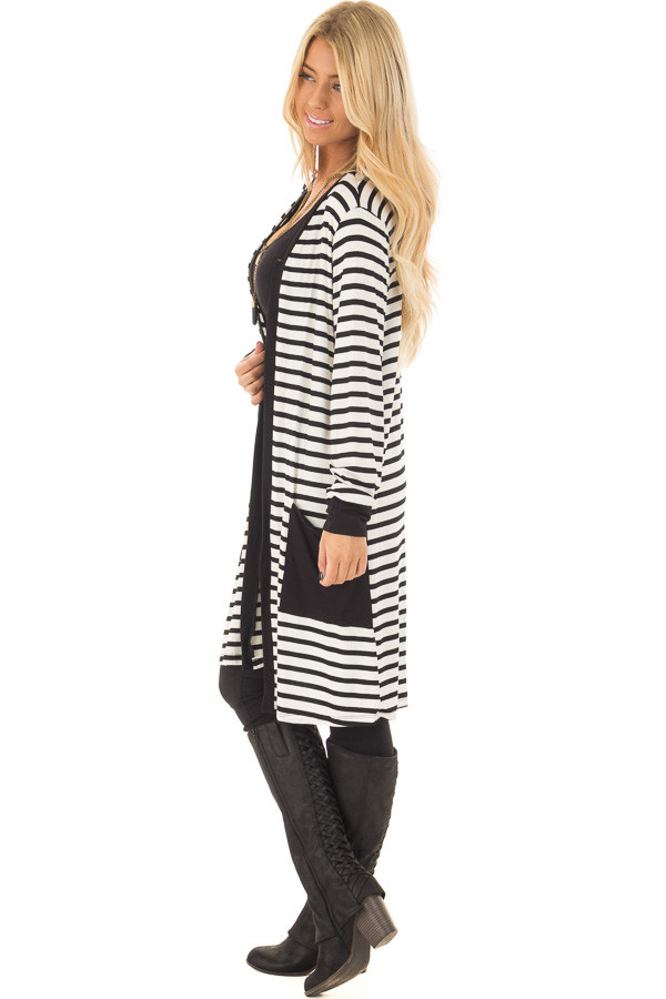 Black and White Striped Cardigan with Front Pockets side full body