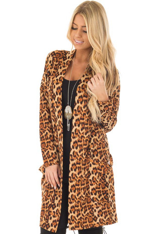 Taupe and Camel Leopard Print Long Sleeve Cardigan front closeup