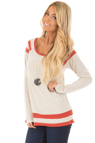 Oatmeal Long Sleeve Top with Rust Stripe Details front closeup