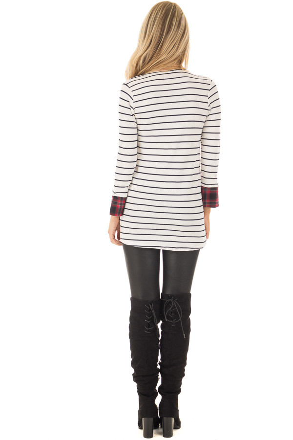 Ivory Striped Long Sleeve Top with Red Plaid Cuffs back full body