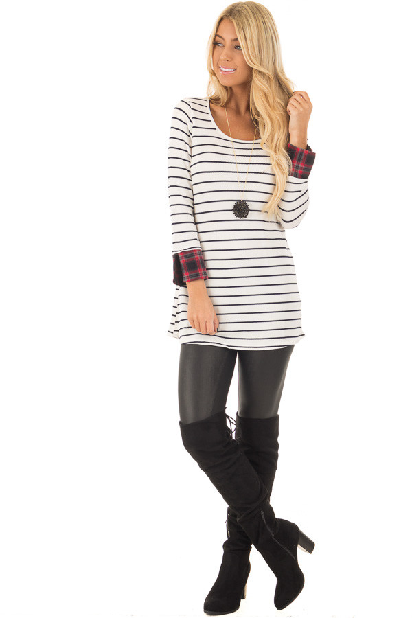 Ivory Striped Long Sleeve Top with Red Plaid Cuffs front full body