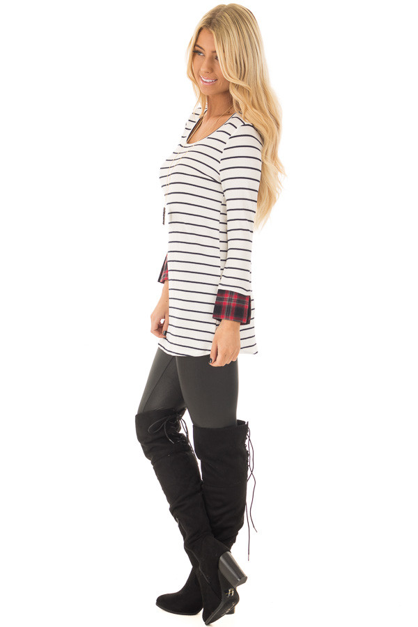 Ivory Striped Long Sleeve Top with Red Plaid Cuffs side full body