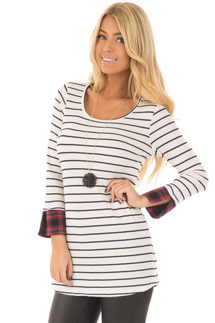 Ivory Striped Long Sleeve Top with Red Plaid Cuffs front closeup