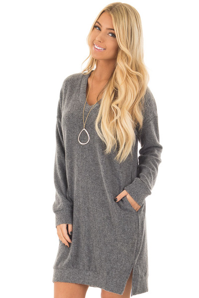 Charcoal Soft Loose Fit V Neck Dress with Hidden Pockets front closeup