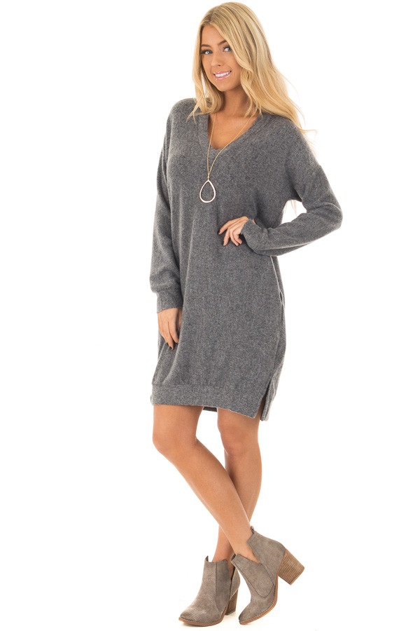 Charcoal Soft Loose Fit V Neck Dress with Hidden Pockets front full body