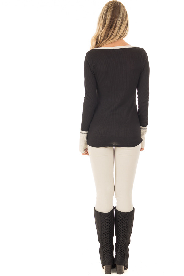 Black Ribbed Knit Long Sleeve Top with Beige Contrast back full body