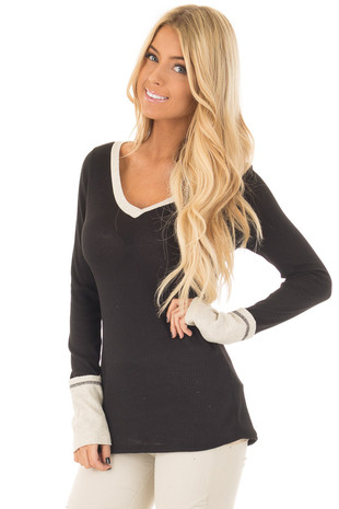 Black Ribbed Knit Long Sleeve Top with Beige Contrast front closeup