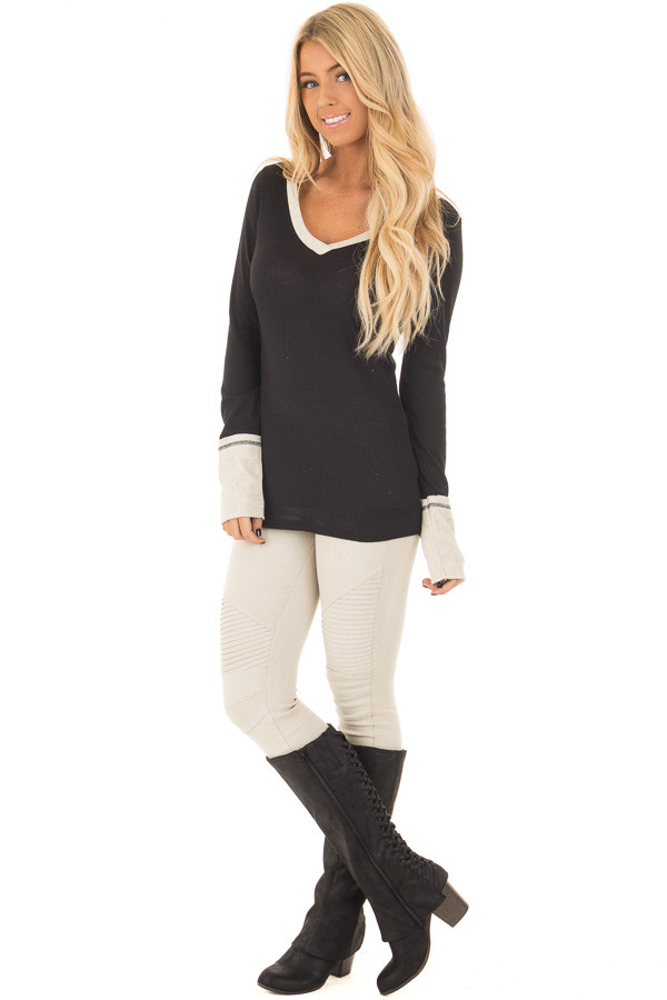 Black Ribbed Knit Long Sleeve Top with Beige Contrast front full body