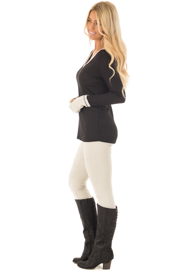Black Ribbed Knit Long Sleeve Top with Beige Contrast side full body