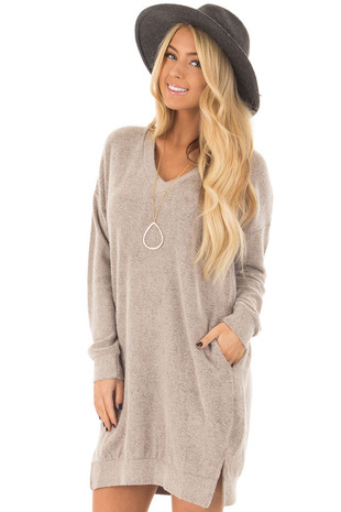 Taupe Soft Loose Fit V Neck Dress with Hidden Pockets front closeup
