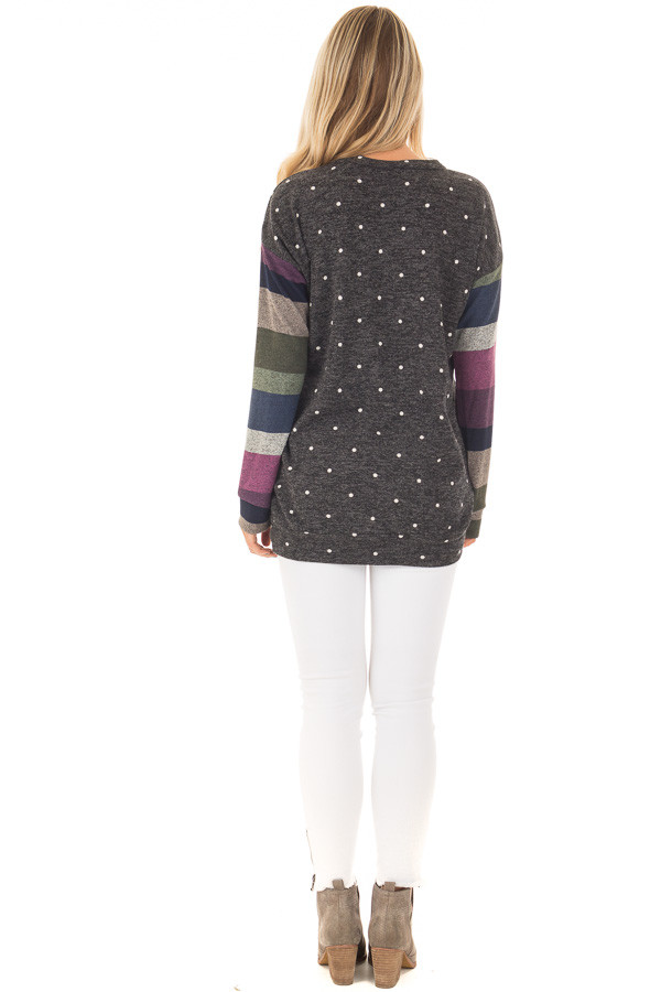 Charcoal Polka Dot Top with Striped Contrast Sleeves back full body