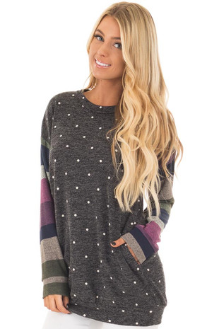 Charcoal Polka Dot Top with Striped Contrast Sleeves front close up