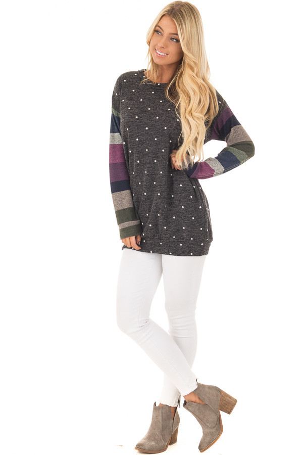 Charcoal Polka Dot Top with Striped Contrast Sleeves front full body