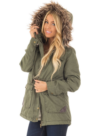 Olive Coat with Faux Fur Lining and Waist Draw String front closeup