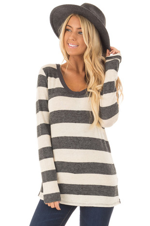 Oatmeal and Charcoal Soft Striped Long Sleeve Top front closeup