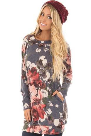 Navy and Blush Floral Print Sweater Dress front close up