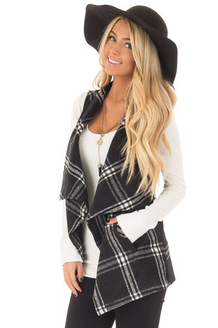 Black and White Plaid Drape Vest with Pockets front closeup