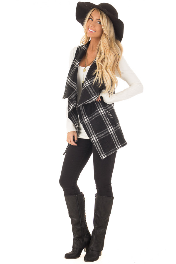 Black and White Plaid Drape Vest with Pockets front full body