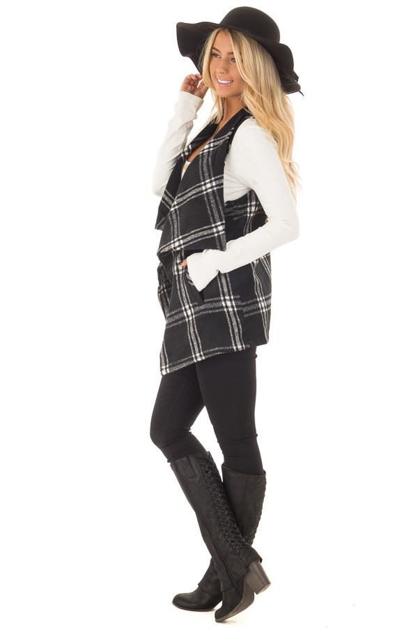 Black and White Plaid Drape Vest with Pockets side full body