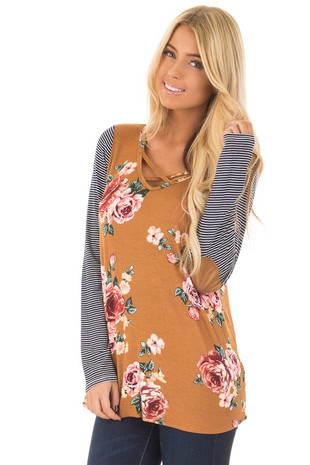 Mustard Floral Top with Striped Raglan Sleeves front closeup