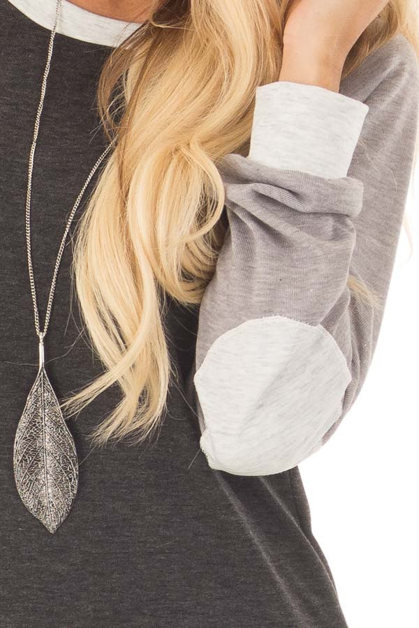 Charcoal and Heather Grey Long Sleeve Top front detail