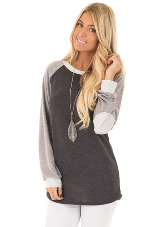 Charcoal and Heather Grey Long Sleeve Top front closeup