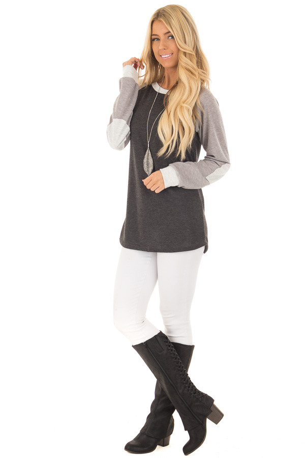 Charcoal and Heather Grey Long Sleeve Top front full body
