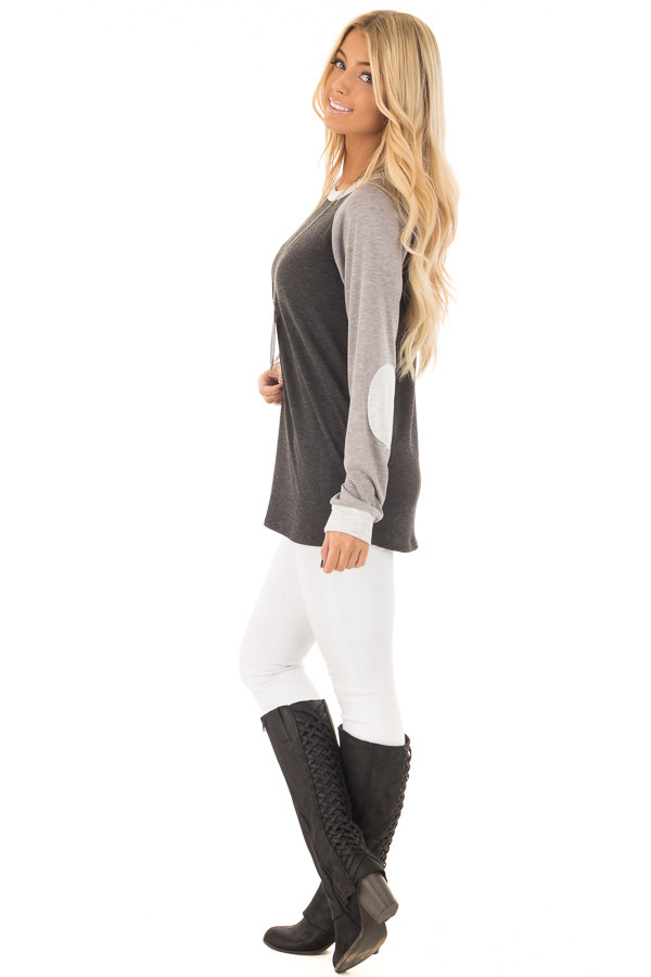 Charcoal and Heather Grey Long Sleeve Top side full body